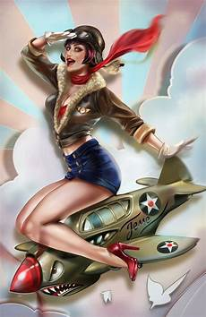 image de pin up retro pin up astride world war two fighter plane