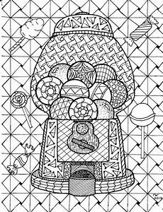 items similar to gumball machine zentangle coloring page