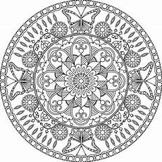 coloring page mandala with flowers and butterflies