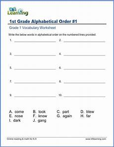 words in alphabetical order for grade 1 k5 learning