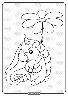 Malvorlagen Unicorn Yellow Printable Unicorn Holding A Flower Coloring Page In 2020