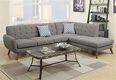 Modern 2 Pcs Sectional Sofa Chaise Tufted Back Grey