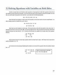 algebra worksheets variables on both sides 8615 solving equations with variables on both sides 8th 9th grade worksheet lesson planet