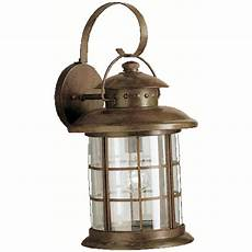 kichler outdoor wall light with clear glass in rustic finish 9762rst destination lighting