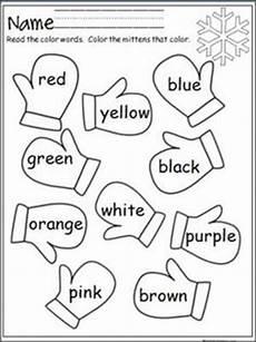 winter worksheets for pre k 19939 mitten color words preschool colors kindergarten preschool