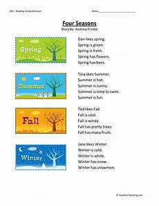 worksheets on seasons for grade 2 14834 reading comprehension worksheet four seasons
