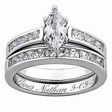 sterling silver marquise 5 67ctw cz 2 piece engraved wedding ring set 7276029 hsn