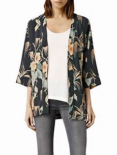 allsaints kyoto floral kimono jacket ink multi at lewis partners