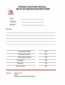 discontinuation form for 504 plan fill online printable fillable blank pdffiller