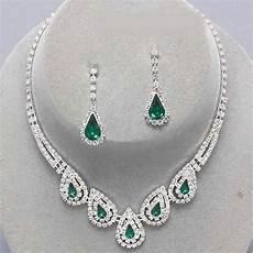 Parure Bijoux Or Mariage Parure Mariage Bijoux Cristal Clair Et Vert Emeraude