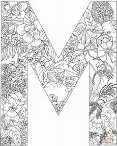 Ausmalbilder Buchstaben M Letter M With Plants Coloring Page Free Printable