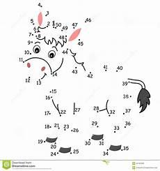 Zahlen Verbinden Malvorlagen Xl Spiel 136 Der Esel Stock Abbildung Illustration