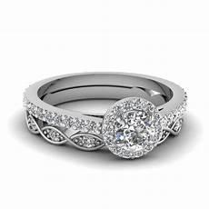 round cut diamond wedding ring sets in 950 platinum