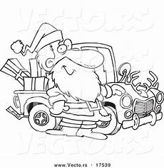 coloring pages 17539 vector of a black and white outline design of santa standing by his truck