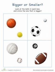 bigger or smaller sports balls sports theme classroom preschool creative curriculum