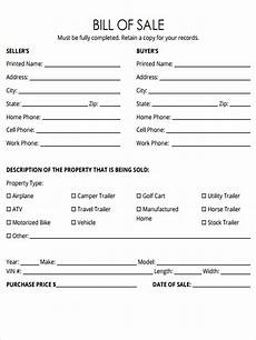free 5 bill of sale forms in pdf