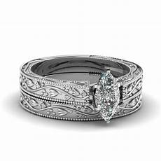 floral engraved marquise cut solitaire wedding ring in
