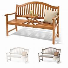 Weiße Gartenbank Holz - 3er gartenbank holz sitzbank mit hochklappbarem tisch