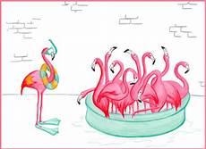 Flamingo Pool Time Illustration Illustration De Flamants