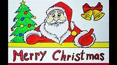 merry christmas photo draw how to draw merry christmas wish santa claus drawing easy and simple youtube