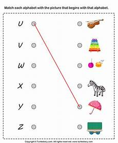 letter matching printable worksheets 24293 matching letters to pictures u to z worksheet turtle diary