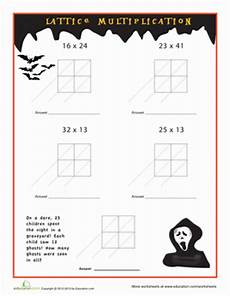 spooky lattice multiplication worksheet education com