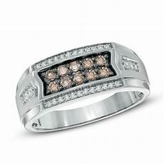 men s 1 2 ct t w chagne and white diamond ring in 10k white gold wedding zales