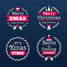 free vector flat design merry christmas labels