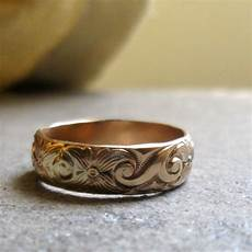 bold gold pattern band ring unique wedding ring unique