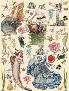 mermaids printable scrapbook sea maidens sirens tale mermaids instant download