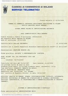 certificato di iscrizione alla di commercio l azienda