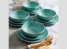 White Rim Aqua 12 Piece Dinnerware Set, Aqua