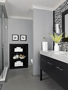 decorating idea black backed built ins bathrooms grey