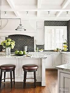 Backsplash For Black And White Kitchen White Kitchen With A Black Subway Tile Backsplash