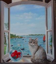 trompe l oeil peinture tableau peinture morbihan chat fen 234 tre trompe l œil marine