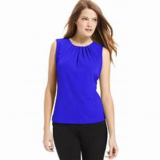 calvin klein sleeveless pleated neck blouse in electric