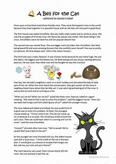 aesop s fable a bell for the cat worksheet free esl