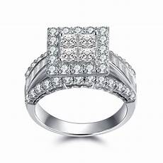 tinnivi gorgeous princess cut 925 sterling silver white sapphire s engagement ring