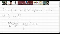determine if each pair of ratios forms a proportion exle youtube
