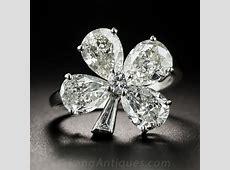 Platinum Diamond Four Leaf Clover Ring   Vintage Jewelry