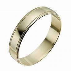 9ct yellow gold 4mm milgrain edge ring h samuel the