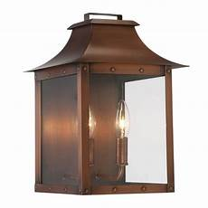 acclaim lighting manchester collection 2 light copper patina outdoor wall lantern 8414cp the