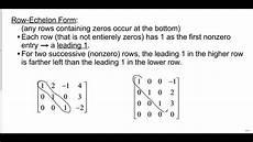 matrices row echelon form youtube