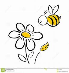 Malvorlage Biene Und Blume Biene Und Blume Vektor Abbildung Illustration Betrieb