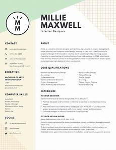 pastel green and yellow interior designer modern resume templates by canva