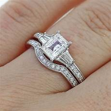 engagement rings and wedding rings 2 65ct emerald cut diamond engagement ring matching wedding band 14k gold ebay