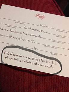 Wedding Invitations With Rsvp Postcards wedding rsvp says if you respond late bring a sandwich