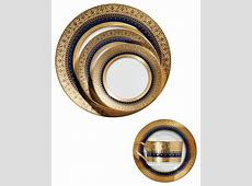 5 Piece Dinnerware Set, Gold and Cobalt Blue   Traditional