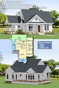 one story farmhouse house plans plan 46367la charming one story farmhouse with two beds