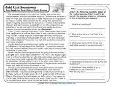 gold rush boomtowns reading comprehension worksheets 4th grade reading comprehension worksheets